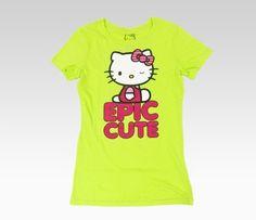 Hello Kitty Juniors Lime Green Tee: Wink