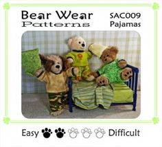Teddy bear clothes pattern.  A pillow fight for teddy bears.  This pajama pattern fits most Build-a-Bear stuffed animals