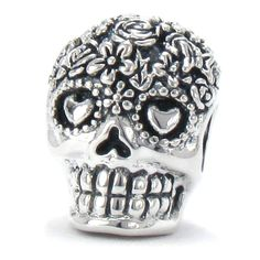 BELLA FASCINI Dia De Los Muertos Skull Bead Charm 925 Silver Fits Compatible Snake Bracelets (Bouquet) *** Visit the image link more details. (This is an affiliate link and I receive a commission for the sales)  #JewelryForWomen