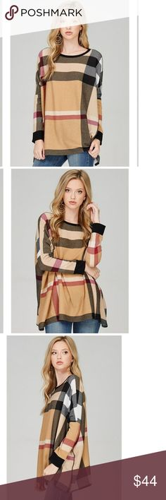 Only 2 left ❤Heavy plaid Sweater This sweater is high quality Stunning plaid sweater w/boxy loose top. Very cozy *BUNDLE & save with our DISCOUNT * Sweaters