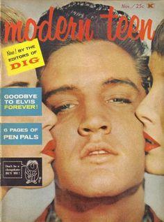 cinenaftalina:  Elvis na capa Modern Teen em Novembro de 1958.  To be one of those girls