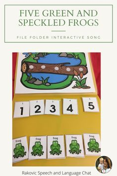 5 Green and Speckled Frogs Fun circle time song that is interactive and can be secured to a folder to create a simple and easy song activity that is easy to store. Great for Circle Time, Math Centers, Reading Centers as the students manipulate the frogs and numbers reinforcing counting, subtracting and reading from left to right. Reading Centers, Math Centers, Circle Time Songs, Fun Songs, English Language Learners, Speech Therapy Activities, Preschool Lessons, Speech And Language, Frogs