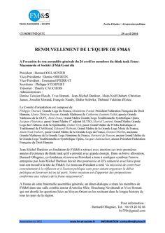 Franc-Maçonnerie et Société : Renouvellement de l'équipe