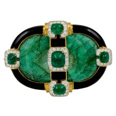 1stdibs - DAVID+WEBB+Carved+Emerald+Diamond+Black+Enamel+Brooch explore items from 1,700+ global dealers at 1stdibs.com