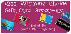 Don't miss out on your chance to #win a $200 gift card of your choice via jennsblahblahblog.com #giveaways and #sweepstakes