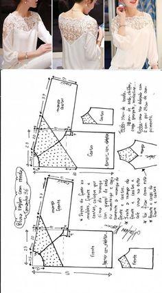 La blusa con los hombros de encajes y la coqueta / los patrones Simples / la SEGUNDA CALLE