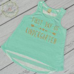 1st Day of Kindergarten Shirt, Kindergarten Shirt for Girls, Tank Top by Bump and Beyond Designs