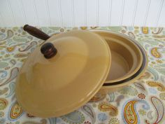 French Enamel Ware Pans with Wood Handle by CheshiresFantasy, $34.00