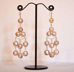 Chandelier Sterling Silver Earrings with freshwater pearls
