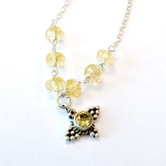 Citrine Necklace Yellow Jewelry November Birthstone Jewellery Sterling Silver Chain 925 Natural Gemstone Pendant Drop N-197 on Etsy, $55.00