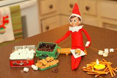 Elf on the Shelf making Smores