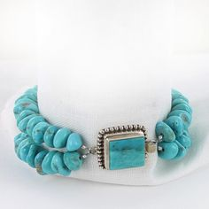 KINGMAN TURQUOISE NUGGET BRACELET STERLING SILVER 2 STRAND from New World Gems