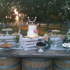 Libby and Bret's wedding in the Walnut Grove - dessert table