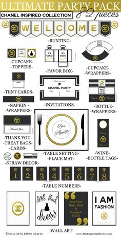 Ultimate Printable Party Package - CHANEL Inspired Party Set - DIY Party Decor - Black - White - Gold by MnKpapercrafts on Etsy