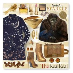 """""""Holiday Sparkle With The RealReal: Contest Entry"""" by esch103 ❤ liked on Polyvore featuring Valentino, Chanel, Laura Mercier, Marc Jacobs, Ines Della Rovere London, Tom Dixon, Burberry, Christian Dior, NuFace and Tiffany & Co."""