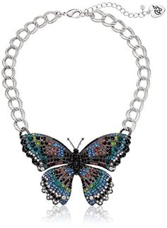 "Betsey Johnson ""Butterfly Effect"" Large Pave Necklace, 16"" +3"" Extender 