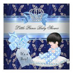 Elegant Baby Shower Boy Blue Little Prince Crown 5.25x5.25 Square Paper Invitation Card