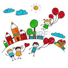 illusztr ci boldog j tsz gyermekek l gg mb k iskolaudvar Gyerekek rajz st lus Stock fotó