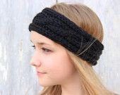 Chunky Cable Knit Headband - Black