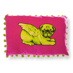 A stunning high quality rectangular cushion cover featuring an individually screen printed flying pug and gorgeous contrasting pompoms.Neon Pink with Green Pug with Pompoms Green with Neon Pink Pug with PompomsA wonderful addition to any sofa, our gorgeous selection of flying pug cushions bring a dash of kitsch cool to your home. Choose square or rectangular, bright or a more toned black, with or without pom poms... there's something for everyone! Say goodbye to flying ducks, and hello ...