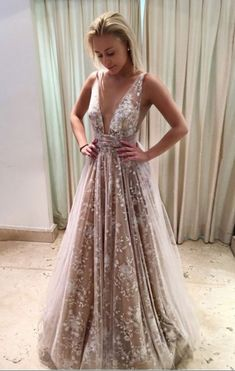 A-line Champagne Deep V Neck Prom Dress,Lace Prom #prom #promdress #dress #eveningdress #evening #fashion #love #shopping #art #dress #women #mermaid #SEXY #SexyGirl #PromDresses
