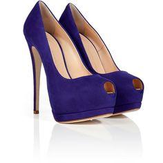 GIUSEPPE ZANOTTI Sapphire Blue Suede Platform Peep-Toes ($705) via Polyvore