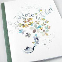 Handmade tea and flower pastel illustrated notebook.