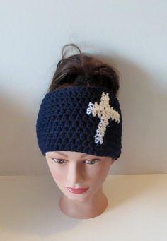 Crochet Cross Ear Warmer Cozy Headband Fall Hairband by TiStephani, $18.00