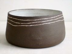 s-c-r-a-p-b-o-o-k: paula greif ceramics - dark brown stoneware bowl with three white inlaid lines matte white slightly pitted glaze inside.