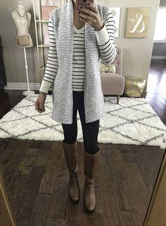 sweater vest striped sweater black ponte pants cognac boots Source by StylishPetite teacher outfits Legging Outfits, Black Leggings Outfit, Vest Outfits, Chic Outfits, Work Outfits, Sweater Vest Outfit, Long Sweater Vest, Long Sweaters, Sweater Fashion
