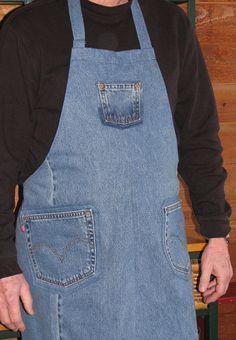 Denim Apron  Upcycled Jeans Apron  Craft Apron by SimpleJoysofLife, $26.00