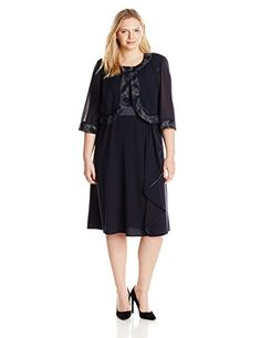 Maya Brooke Womens PlusSize Side Ruffle Metallic Detail Jacket and Dress Set Navy 20W >>> Check out this great product.