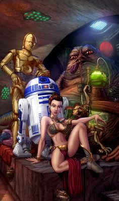 Slave Leia And Jabba The Hutt  Lines by Chris Ehnot   Colors by David Delanty