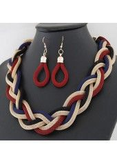 Fashion Twisted Metal Necklace and Earrings