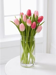 Ramo de 10 Tulipanes Rosas. El florero es opcional y tiene un costo extra. [$950.00]