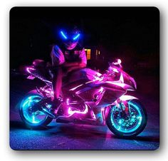 Motorcycle, sportbike, sport bike, light kit, pink, bike, art