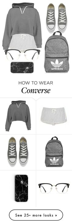 """""""grey tones"""" by tay1a on Polyvore featuring Lou & Grey, Boohoo, Converse, adidas and GlassesUSA"""