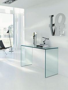 Glass Desk GULLIVER by @Shalome Tonelli Design #glass #interior
