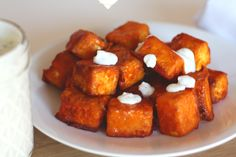 Crunchy on the outside, tender on the inside - these buffalo tofu bites are a…