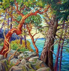 Arbutus Tree, Canadian Artists, Landscape Art, Landscape Paintings, Surreal Art, Op Art, Tree Art, Art Techniques, Painting Inspiration
