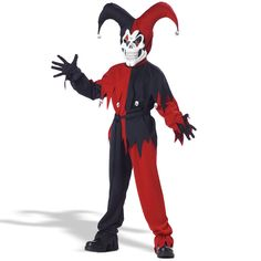 Devious Jester Child Costume - Includes a double knit polyester shirt and matching pants, waist sash, headpiece and mask. Available in child sizes Small, Medium and Large. Medium.