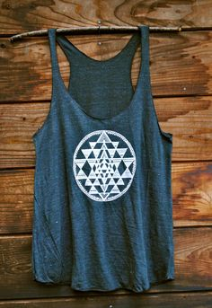 Sri Yantra Racerback Tank in Tri-Blend Black. In love with loose tanks for the summer!