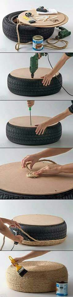 Turn your old tires into a usable DIY coffee table! Home Projects, Home Crafts, Fun Crafts, Diy And Crafts, Craft Projects, Diy Bedroom Decor, Diy Home Decor, Diy Ottoman, Burlap Ottoman