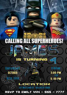 lego batman invitations, lego birthday invitations, lego batman invite Lego Batman Invitations, Lego Birthday Invitations, Superhero Birthday Party, Toy Story Birthday, Batman Birthday, Lego Batman Party, Batman Batman, Batman Logo, Paw Patrol Invitations