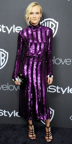 Diane Kruger lit up the Annual Warner Bros x InStyle Golden Globes after-party in a purple sequin striped Nina Ricci design, styled with a whimsical rocket ship-motif Charlotte Olympia clutch, black strappy sandals, a heart-shaped Swarovski stud, and Fashion Fail, Tokyo Fashion, Star Fashion, Fashion Models, High Fashion, Latest Ankara Dresses, Ankara Dress Styles, Backstage, Sexy Dresses