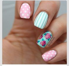 Mint green or teal and pink - flowers, roses, floral, spots, dots, stripes