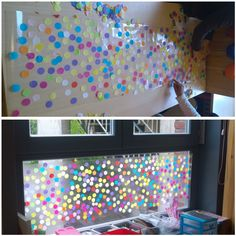 Collage et décoration fenêtre de la classe Travail autour des ronds en maternelle The dot day