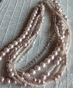 Bridal tea rose / blush Glass Pearl Necklace by HMbySemraAscioglu