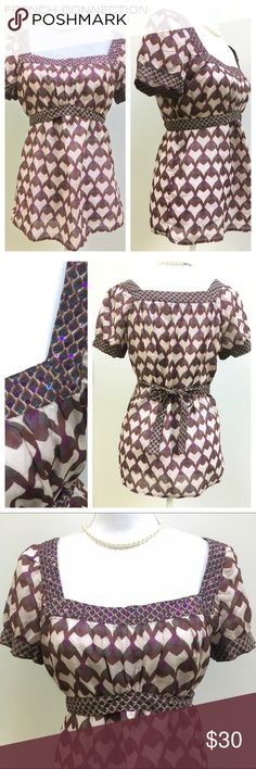 French Connection Patterned Cotton Blouse French Connection patterned cotton blouse with waist sash that ties in the back. Beautiful brown, purple, gray and cream pattern with purple sequin embellishments around square neckline. Size 8 French Connection Tops Blouses