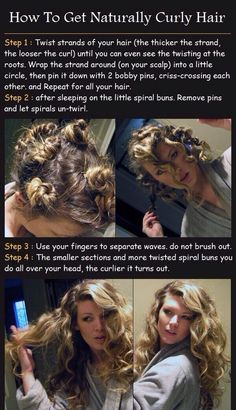 Curls overnight using mini buns! Going to try this to train my hair to curl again.